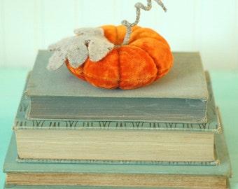 Velvet Pumpkin - Vintage Velvet - Bright Orange - Pincushion - Autumn Decor - Harvest - Fall - Hostess Gift