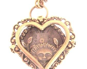 Sun Under Glass  Heart  ...   Steampunk One of a Kind Sun Face Under Glass Victorian Heart