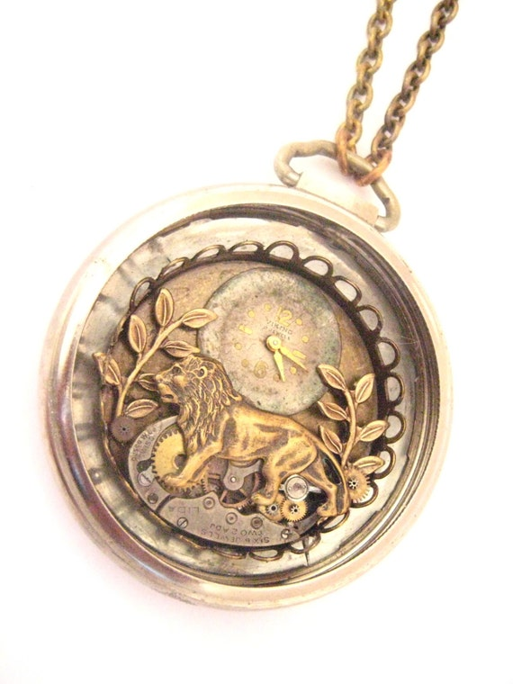 Lion Pocket , Steampunk Lion, Steampunk Pocket Watch Case Necklace, Steampunk Jewelry, Victorian, Lion, One of a Kind