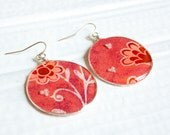 Red Floral Earrings, Paper Jewelry, Recycled Cards, Gifts for Her