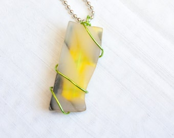 Yelllow Seaglass Necklace, Green Wire Wrap Pendant, Recycled Glass, Painted Glass