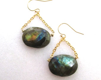 Magnificent Labradorite Intensely Multi-hued Swing Earrings in Gold Vermeil...