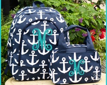 Gift Set of 2 - Personalized Anchors Backpack and Lunch Box - Monogrammed Anchor Backpack and Lunch tote, Navy blue anchor backpack, girls