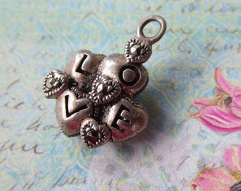 Vintage Sterling Puffed Hearts Charm Spelling L O V E and Accented with Marcasites, Hallmarked, Cluster of Four Hearts, For a Sweetheart
