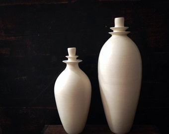 MADE TO ORDER-  2 medium white ceramic double flanged bottle vases by sara paloma.  white ceramics and pottery white modern mid century vase