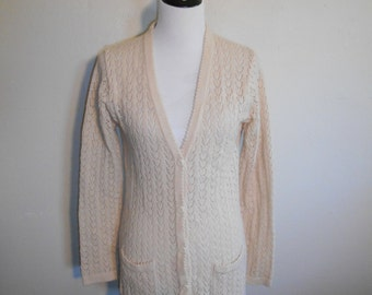 Vintage 70s  knit sweater cardigan  button up  long   cream creme