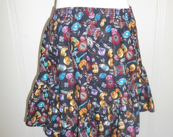 Vintage southwestern Native American short SKIRT     turquoise jewelry circle square dancing skirt           Malco Modes brand   cotton