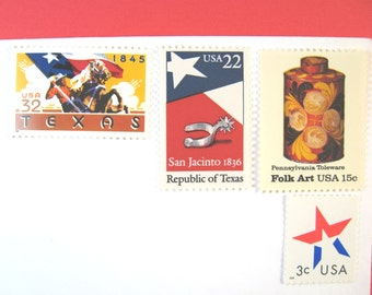 Texas Wedding Postage Stamps, Texas Flag, Cowboy, Red White Blue Star Rustic Folk Art, Mail 20 Invitations 2 oz 71 cent Texas postage stamps
