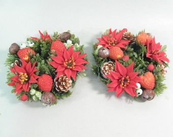 Vintage 1960s plastic flowers, candle ring, flower candle rings, christmas red poinsettia and strawberries, holiday decor