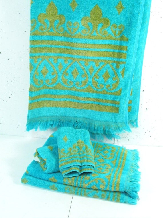 Blue Towels For Bathroom Small: Vintage Bath Towel Set Green And Blue Bath Towel Hand