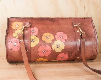 Leather Purse - Barrel Bag - Purse - Handbag - Zippered Purse - Poppy garden pattern - Flowers in pink, orange, yellow and antique mahogany