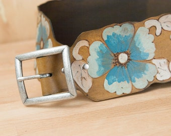 The Belle Belt - Wide leather belt with western wild roses - Leather Belt - Obo Belt - Turquoise silver and antique brown - brown leather