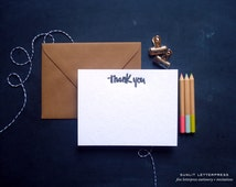 Thank You Cards, Thank You Card Set, Note Set, Letterpress Handlettering Thank You (Set of 4 Note Cards with Envelopes) - Black Ink