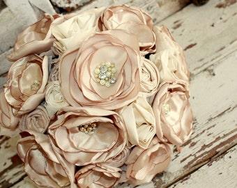 Bridal bouquet, Champagne fabric flower alternative wedding bouquet, Custom bouquet, blush and champagne brides wedding bouquet