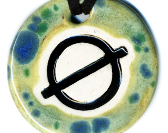 Null or Empty Set Symbol Ceramic Necklace in Green and Blue