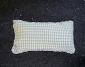 One Dollhouse Miniature Sage Green and Off-White Plaid Pillow (Rectangular)