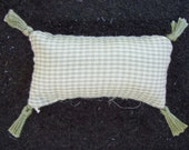One Dollhouse Miniature Sage Green and Off-White Plaid Pillow (Rectangular with Tassels)