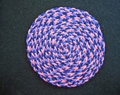 Dollhouse Miniature Round Braided Rug (Purple, Navy and Pink)
