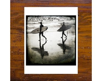 8x8 Print [JCP-018] - BW Two surfers