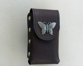 Brown Leather Cigarette Case with Butterfly Concho