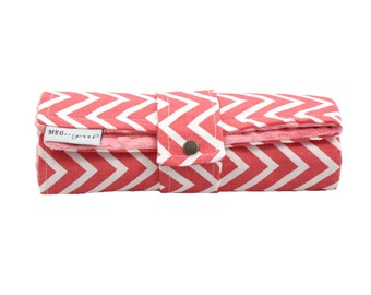 Coral & White Chevron Stripe Travel Changing Pad for Babies { Baby / Toddler Girls } Zig Zag, 707
