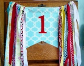 CUSTOM Highchair Banner Birthday Decoration, Unique Party Decoration.  See FIRST image ONLY. Made to match your bunting flags. Kid's Bday.