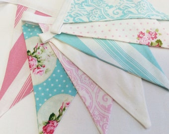 Shabby Chic Bunting Banner, Pink n Blue Fabric Flags, Medium Flags, As Shown in 1st 2 images, Party Decor, Photo Prop, Girl's Room, Birthday