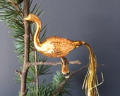 Swan Bird Ornament - Vintage Mercury Glass Clip On - Made in West Germany