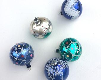 Vintage Mercury Glass Ornaments - Tree Ornaments - Balls