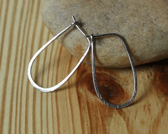 Handmade hammered solid stainless steel hoop 25x14mm, one pair (item ID SS13-2G18)