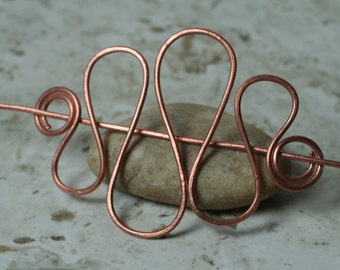 Handmade solid copper hair pin, shawl pin, scarf pin, one piece (item ID HS09C)