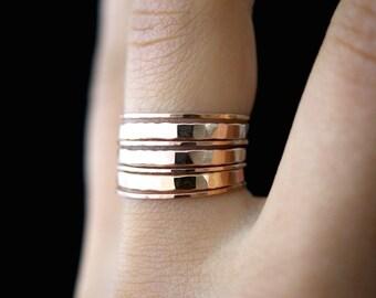 Rose Gold fill Stacking rings, set of 7, stacking ring set, thin gold ring, rose gold rings, rose gold stacking rings, thick rose rings