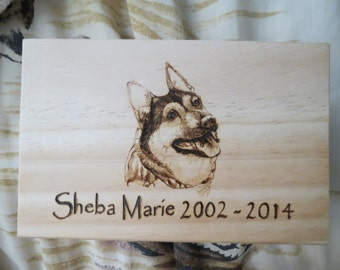 Pet Memorial Urn Boxes Hand Pyrography Made to Order by Pigatopia