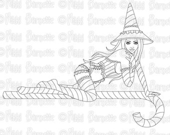 Digital Stamp - Printable Coloring Page - Fantasy Art - Witch Stamp - Adult Coloring Page - Belle - by Nikki Burnette - PERSONAL USE