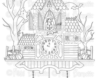 Digital Stamp - Printable Coloring Page - Fantasy Art - Witch Stamp - Adult Coloring Page - Chelsea - by Nikki Burnette - PERSONAL USE