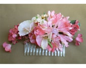 Floral comb pink hair flowers women's boho fashion accessory renaissance faerie costume bridal wedding accessories