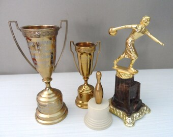 Vintage Trophies Instant Trophy Collection Grand Champion 1955 Potato Exhibit Malher County and Bowling Lady