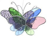Spring Wings - 3D Stained Glass Butterfly Twirl -  Medium Colorful Home and Garden Decoration Hanging Suncatcher Yard Art (READY TO SHIP)