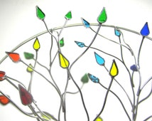 You Pick Any Size - 3D Stained Glass Wall Accent - Round Colorful Wire Tree Gay Pride Home Decor Wall Hanging Suncatcher (MADE TO ORDER)