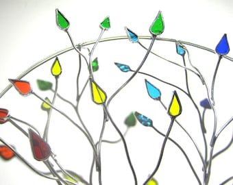 Reserved for Dana - 3D Stained Glass Wall Accent - Round Colorful Wire Tree Gay Pride Home Decor Wall Hanging Suncatcher (MADE TO ORDER)
