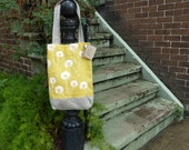 Citrus Yellow Linen Tote Dandelion Prints - Hand Printed  -  2 Pockets