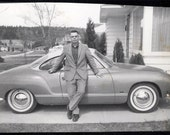 vintage photo 1960s CArmen Ghia Volkswagen Car Proud Man Leans on it