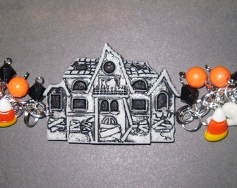 Haunted House Bracelet Halloween Charm Bracelet Haunted House Jewelry Halloween Jewelry Ghost Candy Corn Jack o' Lantern Adult Teen Tween