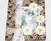 Mixed Media Mini Quilt-- Vintage Nude Boudoir Art Romantic Peach and Brown