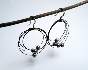 Constellation Earrings - Hoops earrings - Minimalist jewelry - Silvered beads