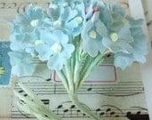 Sale / Vintage Millinery / Hydrangea Bouquet / Light Blue / Cotton Linen Fabric / Composition Buds / Paper Leaves