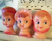 Vintage Old Stock / Little Doll Heads / Three Items / Variety / Retro Kitsch