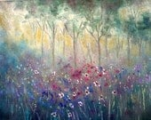 Original oil painting impressionist painting modern knife Hazy Sunset Trees and Wild Flowers 20 x 16