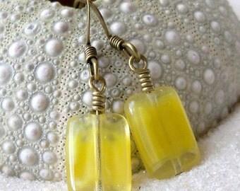 Dangle Earrings - Bohemian Earrings - Women's Earrings - Yellow Earrings - Short Earrings - Short Boho Earrings - Beaded Earrings