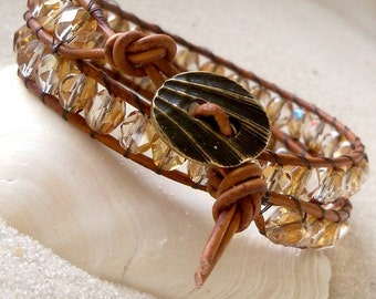 Leather Wrap Bracelet  - Leather and Bead Bracelet - Bohemian Bracelet - Brown Leather and Glass Bead Bracelet- Czech Glass Bracelet